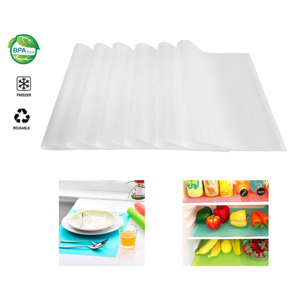 Refrigerator Shelf Liners 6PCS EVA Shelf Liners Can Be Cut Washable Refrigerator Pad Mat Fridge Cushion Liner Non-Adhesive Cupboard Liners Non-Slip Cabinet Drawer Table Liners - (Clear,29x45cm)