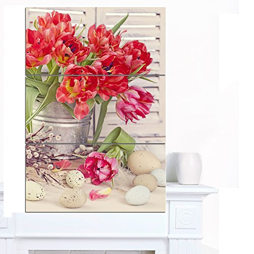 Designart -Tulip Flowers & Easter Eggs Canvas Artwork Print