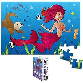 c8de6f8eafcb9 Floor Puzzles for Kids - 48-Piece Giant Floor Puzzle, Mermaid Ocean Fantasy  Jumbo Jigsaw Puzzles for Toddlers Preschool, Toy Puzzles for Kids Ages ...