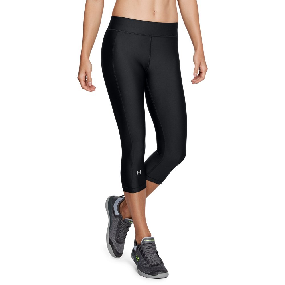 Under Armour Women's HeatGear Armour Capris, Black (001)/Metallic Silver, Medium by Under Armour