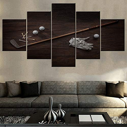 Old Vintage Golf Balls - TUMOVO House Decorations Living Room Vintage Golf Club Pictures White Ball Paintings 5 Piece Prints Wall Art on Canvas Contemporary Artwork Wooden Framed Gallery-Wrapped Ready to Hang(60''Wx32''H)