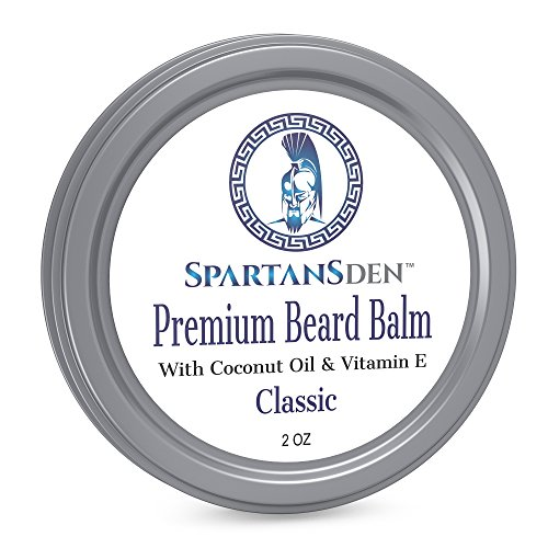 Spartans Den Premium Beard Balm For Men | Coconut Oil & Vitamin E Infused | Best Conditioner For Grooming, Growth, Soften, Itch & Tame - Classic Scent ()