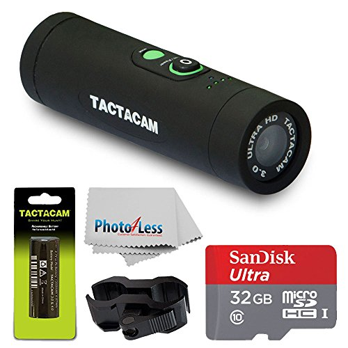 TACTACAM 3.0 With Flat Black Stabilizer + TACTACAM Rechargeable Battery + SanDisk Ultra 32GB microSDHC UHS-I Card with Adapter + Custom Gun Mount/Scope Mount + Cleaning Cloth + Deluxe Accessory Bundle Action Cameras Tactacam