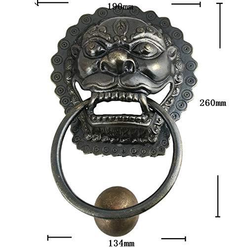 Brass Small Knob Head Lion (Big Size 190260mm Wooden Door Gate Antique Brass Handle Knobs Lion Head Copper Handle Pulls Retro Architecture Handles Bronze - (Color: bronze))
