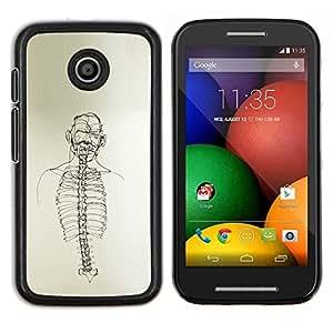 Caucho caso de Shell duro de la cubierta de accesorios de protecci¨®n BY RAYDREAMMM - Motorola Moto E - Dibujo Esqueleto Spine Arte Negro Blanco L¨¢piz
