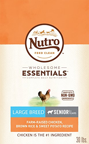 NUTRO WHOLESOME ESSENTIALS Natural Senior Large Breed Dry Dog Food Farm-Raised Chicken, Brown Rice & Sweet Potato Recipe, 30 lb. Bag