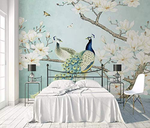 - Murwall Peacock Wallpaper Chinese Peacock Wall Mural Magnolia Floral Wall Art Flower Wall Decor Chinese Home Decor Asiatic Wall Painting Cafe Decor