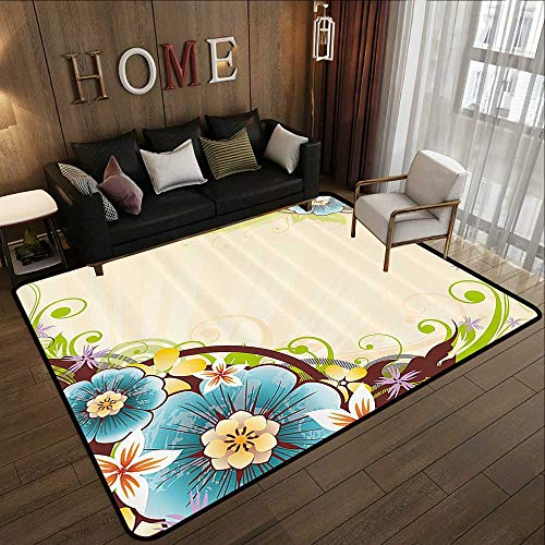 Outdoor Carpet,Floral,Striped Background with Flower Bouquets on Corners Spring Blossoms Artwork Print,Multicolor 59