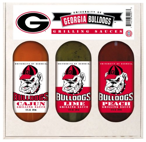 Georgia Bulldogs Grilling Gift Set 3-12 oz (Cajun, Lime and Peach)