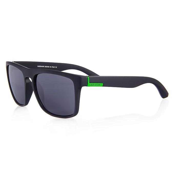 Gafas de sol Wayfarer Polarizado de QUESHARK - Lente Espejo Completa Con Protección UV400 - Completo