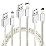 Lightning Cable, QSSTECH iPhone Charger 3 Pack 3FT 6FT 10FT Nylon Braided Charging Cord Compatible with iPhone X, 8, 8 Plus, 7, 7 Plus, 6, 6 Plus, 6s, 6s Plus, 5, 5s, 5c, SE, iPod, iPad (Silver White)