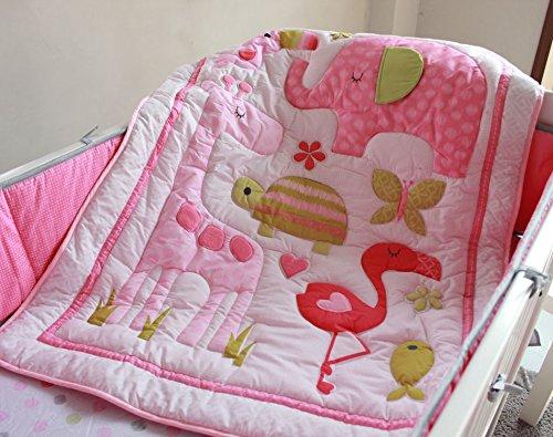 NAUGHTYBOSS Baby Bedding Set Cotton 3D Embroidery Flamingos Giraffe Elephant Butterflies Quilt Bumper Bedskirt Fitted Blanket 8 Pieces Pink