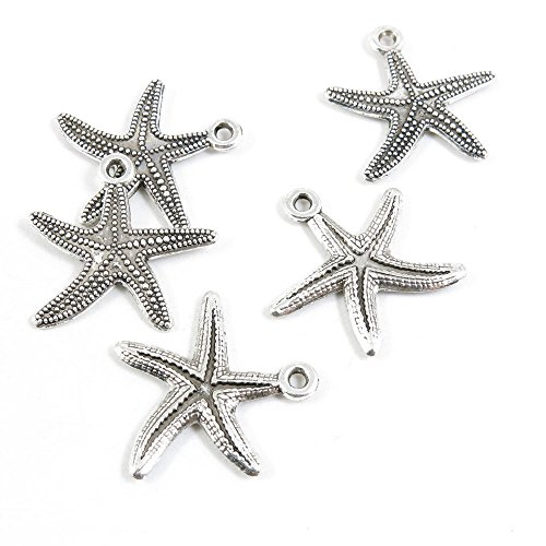 80 Pieces Antique Silver Tone Jewelry Making Charms Pendant Findings Craft Supplies Bulk Lots Arts H6ZH4 Starfish Sea Star by ebemallmall