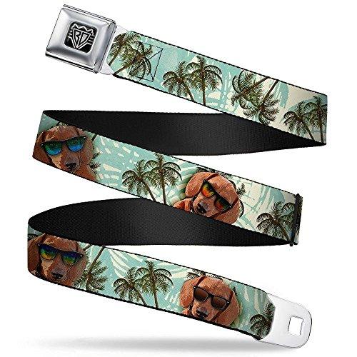 Buckle-Down Seatbelt Belt - Dachshund in Shades w/Palm Trees - 1.0