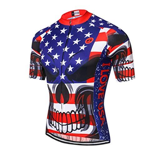 Mens Cycling Jersey Shirt,2019 Short Sleeve Bike Jersey Riding Tops Outdoor MTB Cycling Clothing Skull Blue XL ()