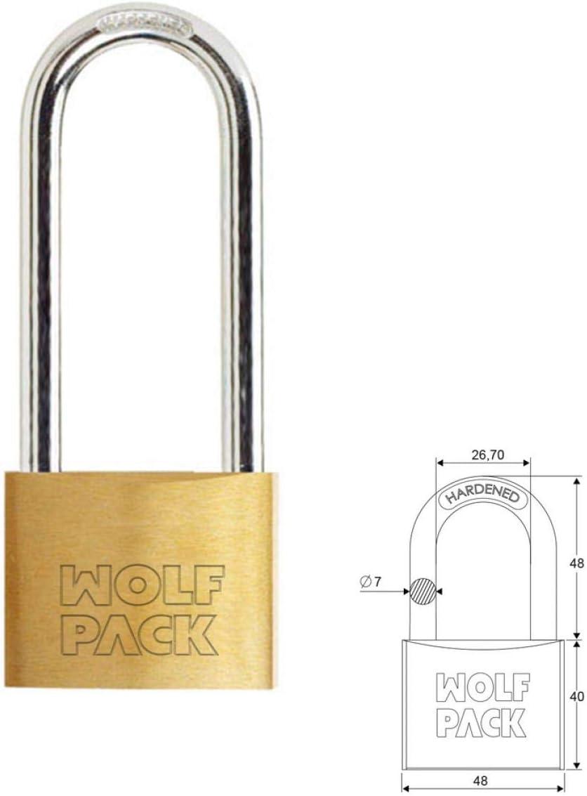 Wolfpack 3100980 Candado Laton Arco Largo 50 mm