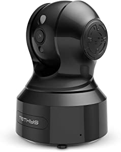 TETHYS 1080p HD Wireless IP Security Camera [Works with Alexa] Indoor Smart Home Family Surveillance Camera for Nanny/Baby/Pet Monitor with Free Cloud Storage, Motion Detection, Night Vision - Black