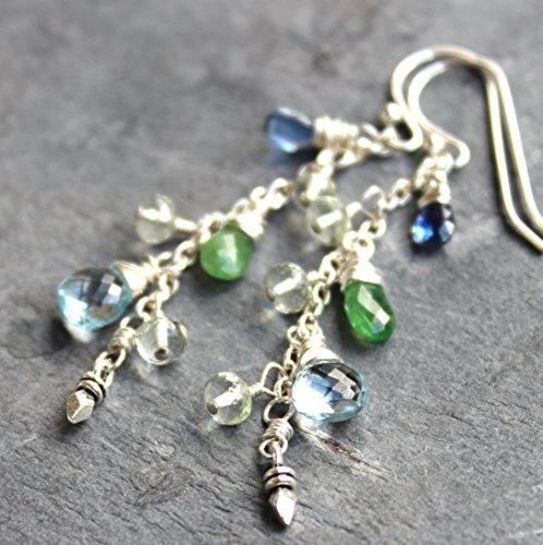 Delicate Cascade Multi Gemstone Earrings Blue Topaz Tsavorite Kyanite Sterling Silver Dangles