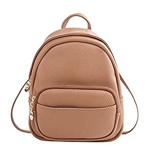 Lhjy Mini Backpack Female Dual-Purpose Small Fresh and Lovely Small Backpack All-Match Bag,Khaki