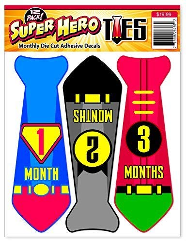 Month Stickers for Baby Boy   Super Hero Neck Tie   Use Photo Prop, Wall Decor or Shower Gift   First Year Growth Monthly Milestones Professional Decal Set for Onsies