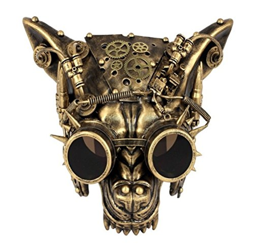 Gold Steampunk Wolf Half Mask Adult Animal Angry Dog Venetian Costume -