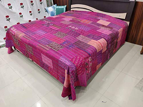 Handicraftofpinkcity Pink Color traditional Indian Silk Patola Quilt Floral Home Décor Kantha Reversible Bedspread Queen Size Stitch Gudri Bedspread and Bed Cover and Rail with Pillow case Jaipuri