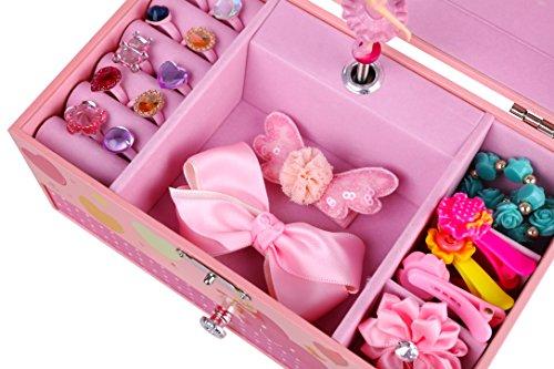 SONGMICS Ballerina Music Jewelry Box for Little Girls, Swan Lake Tune Pink UJMC002