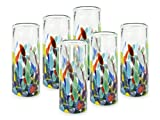 MexART Artisan Crafted Hand Blown Confetti Festival Recycled Glass Shots Glasses, 2 oz. 'Classic' Tequila Shots (Set of 6)
