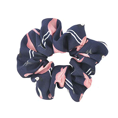 Hair Rope Ring Tie Scrunchie Ponytail Holder Flamingos Hair Band Women Hotsale (Color - Blue)