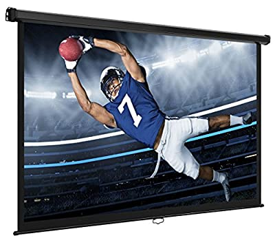 VonHaus 80-inch Widescreen Projector Screen (Manual Pull Down) Home Theater/Cinema or Presentation Platform - 16:9 Aspect Ratio Projection Screen - Suitable for HDTV/Sports/Movies/Presentations