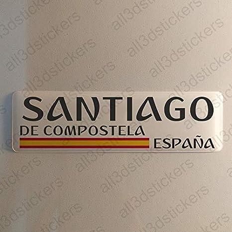 Pegatina Santiago de Compostela España Resina, Pegatina Relieve 3D Bandera Santiago de Compostela España 120x30mm Adhesivo Vinilo: Amazon.es: Coche y moto