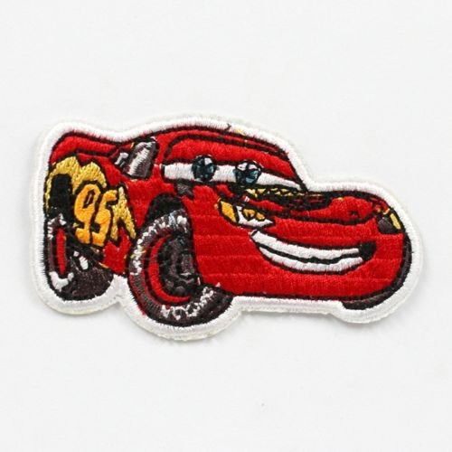1pcs Lightning Mcqueen Cars Fabric Embroidered Iron/sew on Patch for Kids (Lightning Mcqueen Fabric)