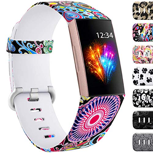 Ouwegaga Compatible for Fitbit Charge 3 Bands Floral Straps Women Men Fireworks Pattern Small ()