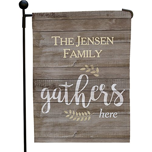 "GiftsForYouNow Family Gathers Here Personalized Garden Flag, 12 1/2"" w x 18"" h"