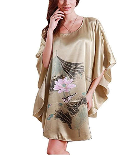 BigForest Femmes Satin Batwing Sleeve Pullover Peignoir Plus Size Pyjama robe