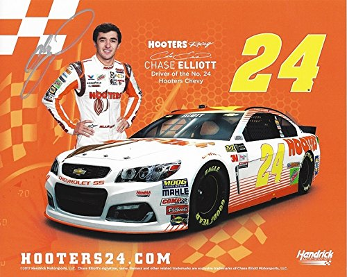 AUTOGRAPHED 2017 Chase Elliott #24 Hooters Racing Chevy TALLADEGA RACE (Hendrick Motorsports) Extremely Rare & Limited Signed Collectible Picture 8X10 Inch NASCAR Hero Card Photo with (Talladega Nascar Race)