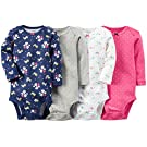 Carter's Baby Girls' 4 Pack Print Bodysuits, Multicolor, 6M