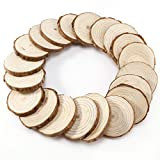 natural art supplies - Charmed 4-5 cm unpainted Natural Round Wood Slices pieces (Pack of 20)