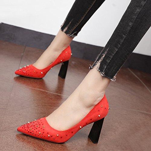 Xue Qiqi Court Schuhe Wilde Wasser bohren dick mit hochhackigen Schuhe tide Tipps personalisierte Niet flachen Mund einzelne Schuhe Frauen