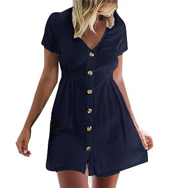 VEMOW Faldas Cortas Mujer Sólido Casual para Mini Cuello Abotonado ...