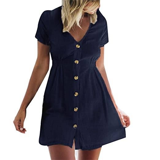 28dfd959c90 Amazon.com: Womens Loose Mini Dress - Summer Casual Button Front ...