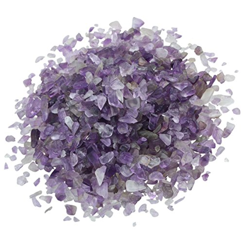 SUNYIK Amethyst Tumbled Chips Stone Crushed Crystal Quartz Pieces Irregular Shaped Stones 1pound(About 460 Gram)