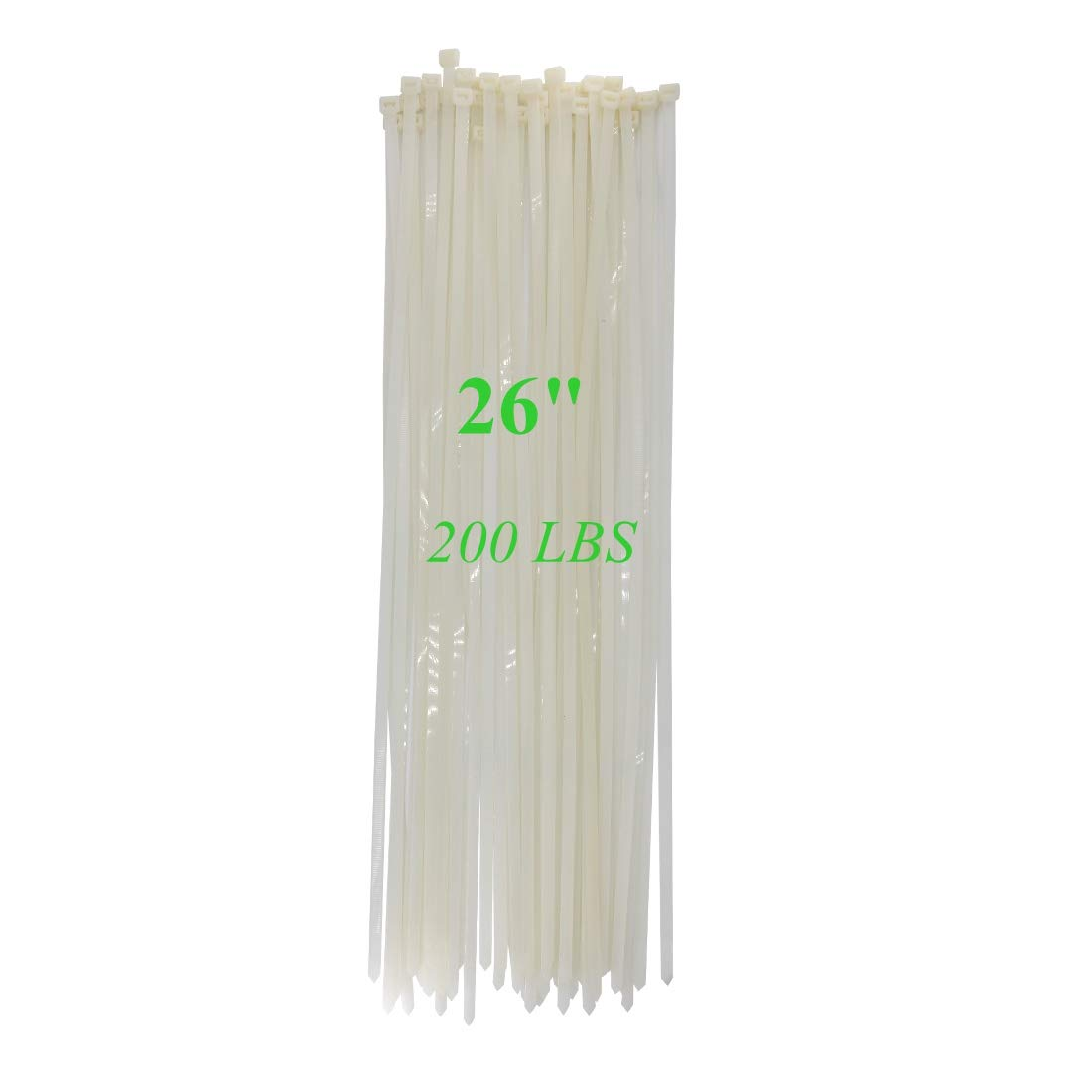 """Long Heavy Duty 26 Inch Nylon Zip Cable Ties Clear-Large 200 LBS Tensile Strength-Heavy Duty Industrial Durable Strong Cable Ties- 50 Pack - Indoor Outdoor Garden Use(26"""",200LB, White)"""