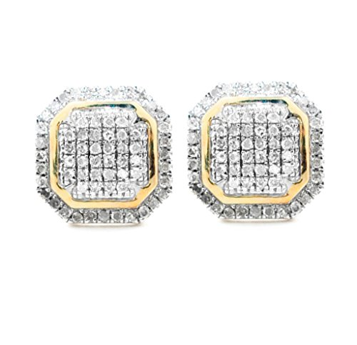 10K Gold Diamond Fashion Earrings for Men Screw on Back 1/5ctw 9mm Wide Pave Set Diamonds (i2/i3, I/j) (Kc Designs Diamond Stud)