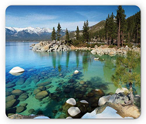 Lake Tahoe Mouse Pad, Scenic American Places Mountains with Snow Rocks in The Lake California Summer, Standard Size Rectangle Non-Slip Rubber Mousepad, Multicolor