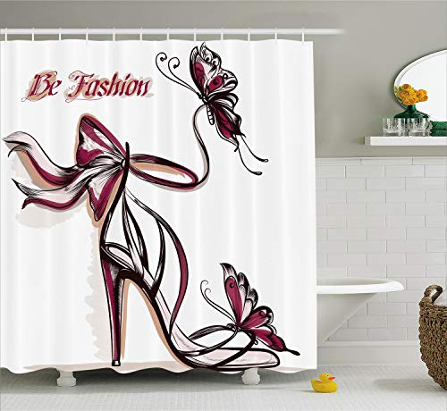 Ambesonne Fashion House Decor Shower Curtain, High Heels with Butterfly and Ribbon Ornamentals Be Grace Spruceness Theme, Fabric Bathroom Decor Set with Hooks, 70 Inches, Pink