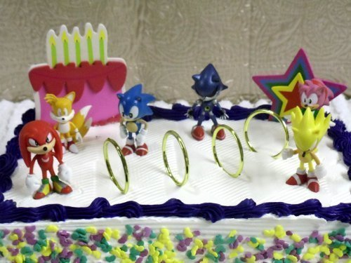 Unique 12 Piece Classic Sonic the Hedgehog Cake Topper Set Featuring 4 Sonic Rings, Super Sonic, Amy Rose, Miles Tails Prower, Sonic, Metal Sonic, Knuckles, And 2 Decorative Cake Pieces]()