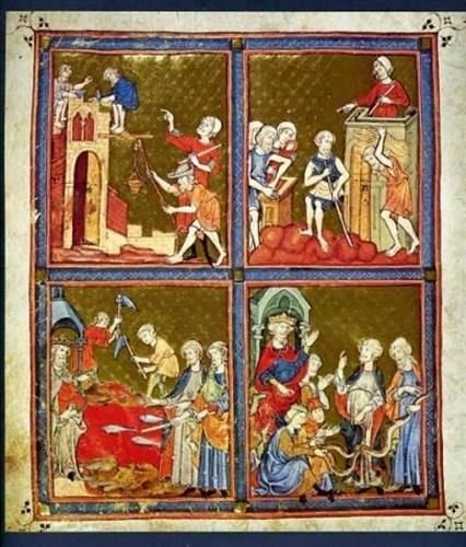 A Page of the Golden Haggada Catalonia 12th Century British Library from Generic