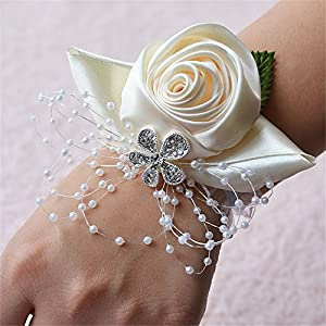 Prom Flower Wedding Bridal Wrist Corsage Bridesmaid Wrist Flower Corsage Flowers for Wedding (Ivory) 37