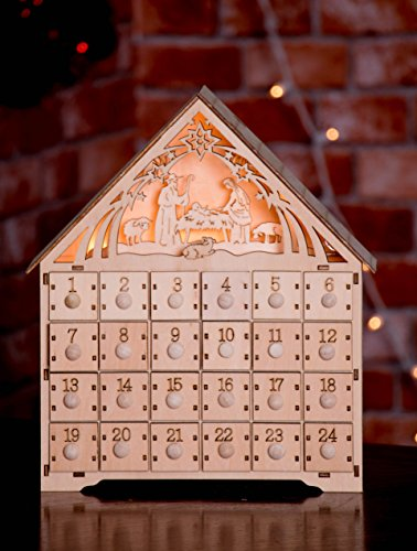 "Nativity Scene Advent Calendar by Clever Creations | Wooden 24 Day Countdown to Christmas Advent Calendar | Premium Christmas Decor | Light Up Nativity Wood Construction | 11.75"" Tall by Clever Creations (Image #3)"
